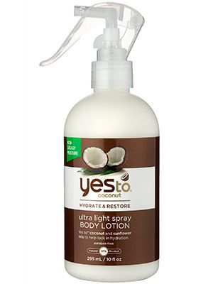 Natural wonders: Yes to Coconut Ultra Light Spray Body Lotion's squirt-gun applicator makes moisturizing every inch a breeze