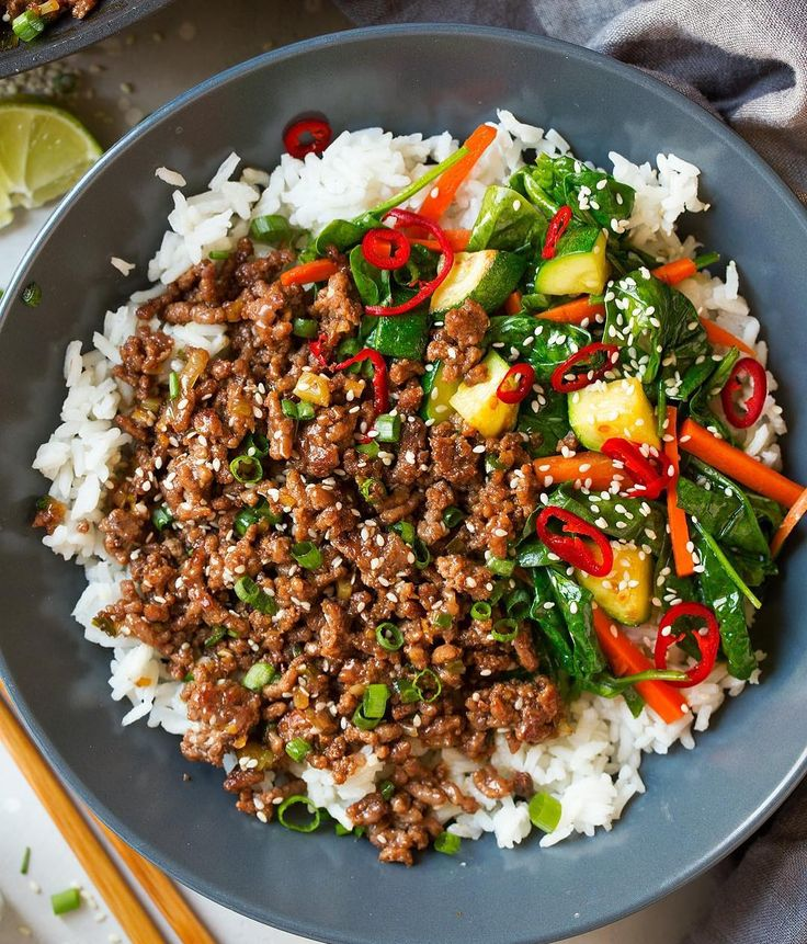 Korean Beef Bowls By @coolingclassy Servings: 4 . Ingredients 1 1/2 Tbsp honey 1 1/2 Tbsp dark brown sugar (light can be substituted) 1 1/2 tsp sesame oil 1 1/2 tsp fresh lime juice 3 Tbsp soy sauce 2 Tbsp water 18 oz. 85% lean Angus ground beef 1/3 cup chopped green onions, only white and light portion 1 Tbsp minced fresh garlic 1 Tbsp peeled and minced fresh ginger Chopped green onions (green portion), chopped unsalted peanuts, sesame seeds, Sriracha (optional) Cooked white or brown rice…