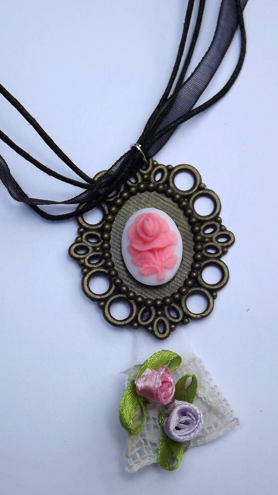 Pink rose cabochon shabby chic vintage by Bellecardsandgifts