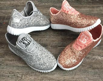 b75a7f9a3de7e Glitter Bomb Sneakers - Personalized Womens shoes - Rose Gold Tennis ...