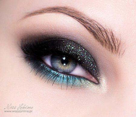 Gorgeous dark smokey eye makeup with turquoise - Makeup   Bellashoot