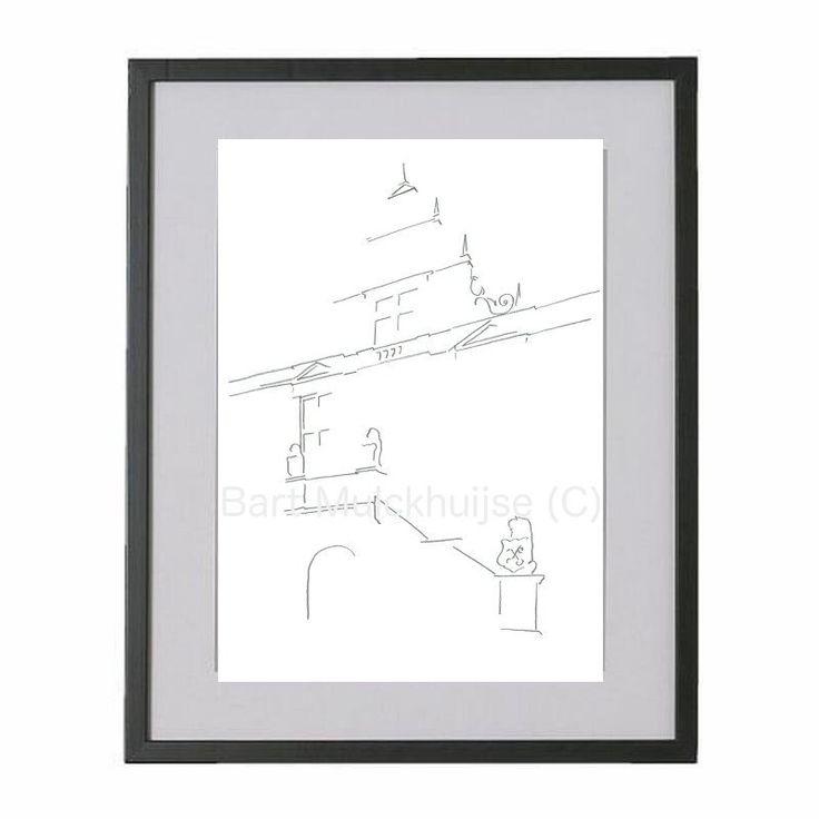 Originele tekening van historische Stadhuis Leiden door LeidseLijnen op Etsy