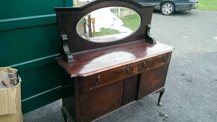 Mirror Back Sideboard on queen Anne legs in a Cherrywood Colour. Ideal for Upcycling  56 width 53 Height to Mirror top 19 depth  145 Euros