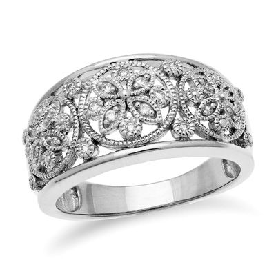 Zales 1/10 CT. T.w. Diamond Flower Filigree Three Piece Stackable Band Set in Sterling Silver V3LWnear