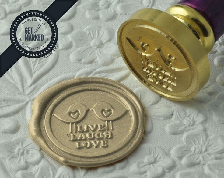 Live Laugh Love - Wax Seal Stamp by Get Marked - Wedding Collection (WS0190).   The stamp is ideal for wedding, engagement party and bridal shower invitations. #GetMarked, #waxsealstamp, #waxseal, #wax, #wedding, #invitation