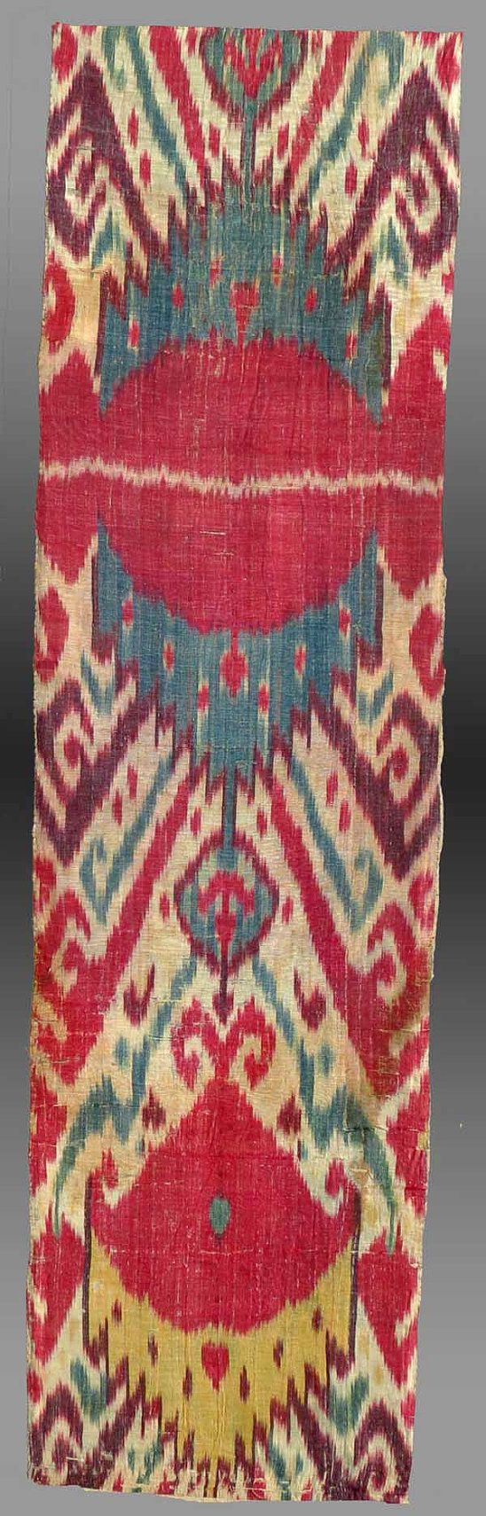 Vintage Antique Silk Ikat Textile Central Asia by tcEclecticImages