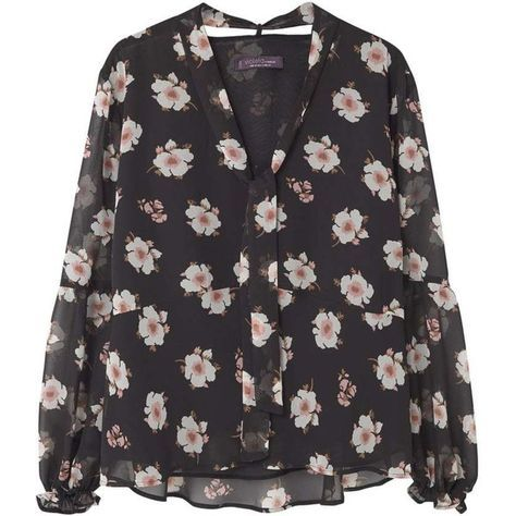 Floral Print Blouse ($62) ❤ liked on Polyvore featuring tops, blouses, tie-neck blouses, flower print blouse, tie top, long sleeve v neck blouse and floral tops