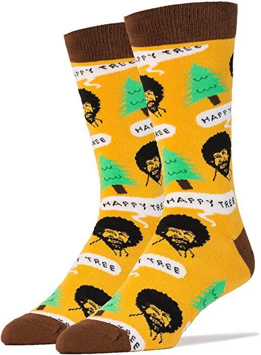 0b9fe0d29d325 Amazon.com: Oooh Yeah Men's Luxury Combed Cotton Crew Socks Bob Ross Happy  Tree,Large: Clothing