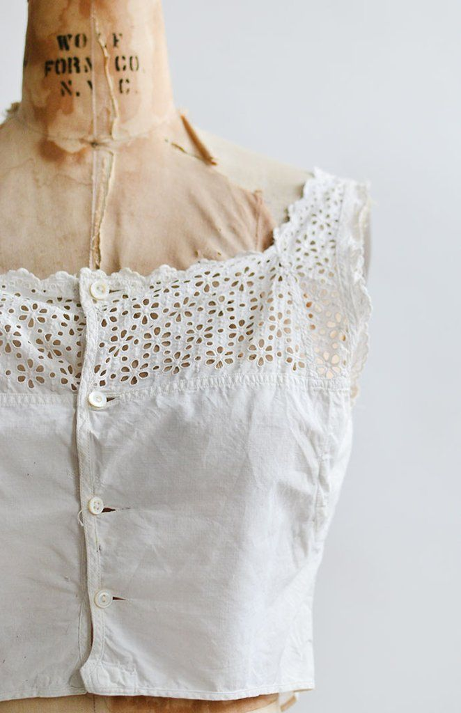 A Simple Matter Top / antique Victorian corset cover / broderie anglaise top