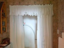 White Battenburg Lace Shower Curtain With Valance