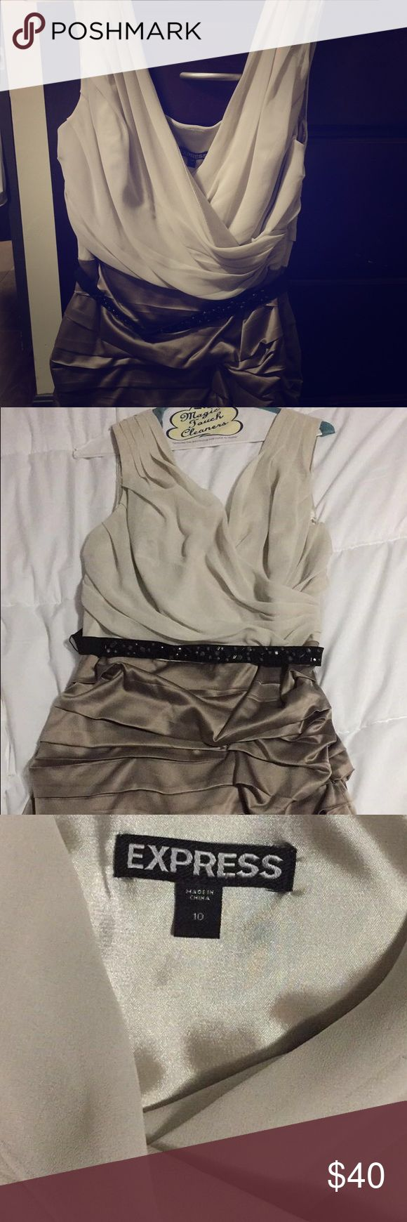 Cocktail dress Great for a wedding or night out! Cream colored top, gold/brown bottom half. In great condition! Express Dresses Midi