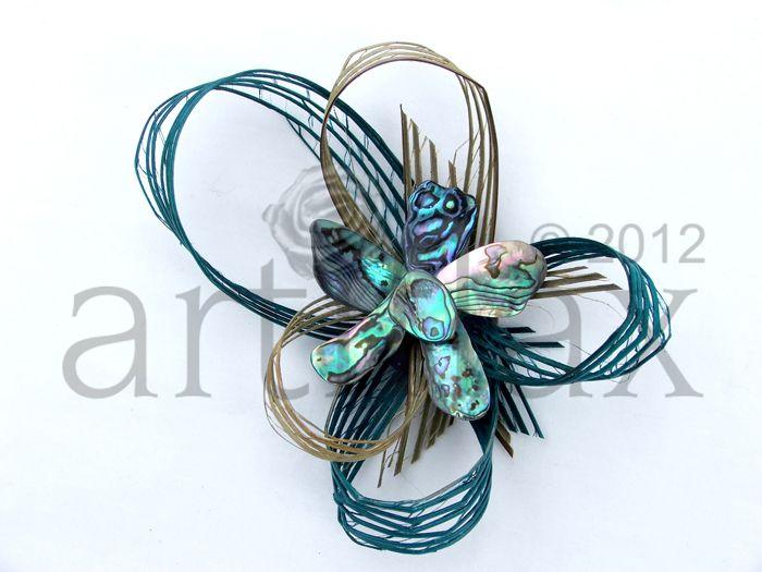 Hapene flax  and paua shell flower brooch/corsage