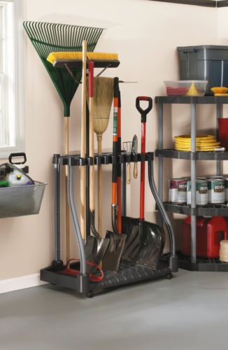 Garden Tool Storage Rake Shovel Hoe Broom Handles Organizer Garage Shed Basement Gardens