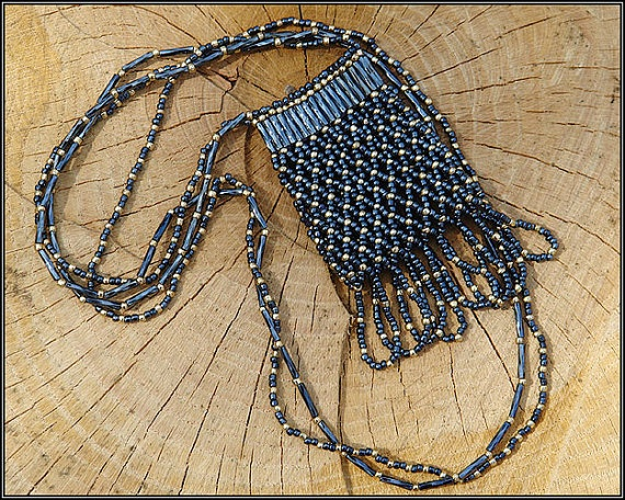 Beaded Black and Gold Amulet Bag by SFBeads on Etsy, $49.99