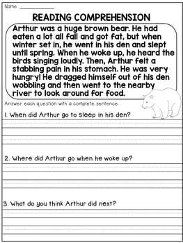 2nd Grade Reading Comprehension Passages and Questions | Common Core ...