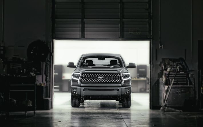 Download wallpapers Toyota Tundra TRD Sport, 4k, garage, 2018 cars, SUVS, Toyota Tundra, Toyota