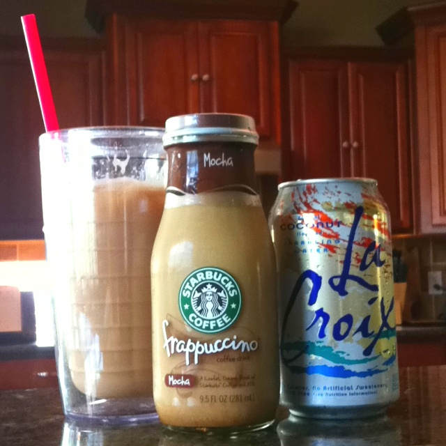 My newest creation for those of you who like caffeine and carbonation. 3/4 Starbucks mocha and 1/4 la croix coconut sparkling water. 180 calorie pick me up for my 4 pm lull. Tastes like an egg cream.