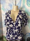 ♢• DENIM & CO. L NEW NAVY BLUE FLORAL BUTTON RIBBED TRIM SHORT SLEEVE SHR... http://ebay.to/2k21hFw