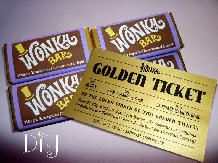 25 best ideas about Golden ticket – Golden Ticket Party Invitations