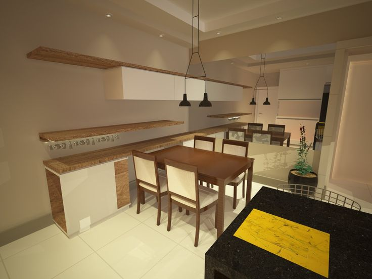 Sala de jantar com bancada de apoio para preparação de refeições. #salajantar #sala #granito #aparador #pendente #reka