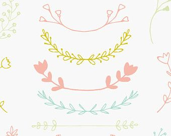 Corona de Laurel dibujado a mano Clip Art por FieldandFountain