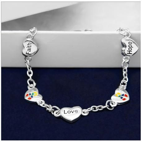 Hope, Faith, Love Autism Bracelet