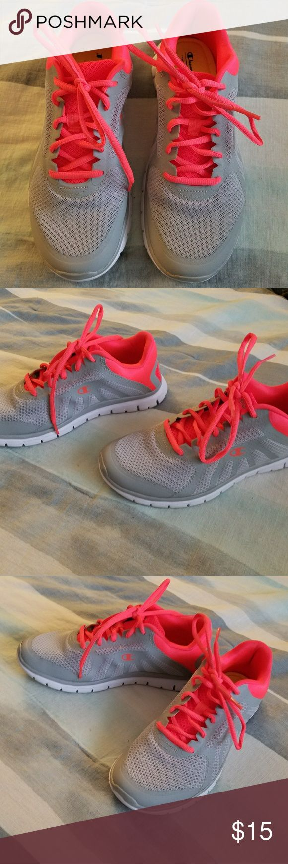 Grey running shoes Sz 7.5 Champion brands from payless  Bright orange laces  Worn once. Super cushy and comfy. Champion Shoes Athletic Shoes