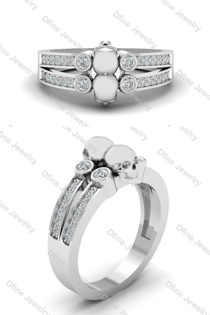 Diamond Spooky Skull Gothic Engagement Ring Gothic Engagement