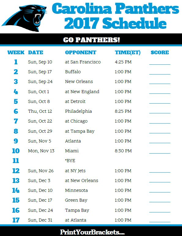 2017 Carolina Panthers Football Schedule
