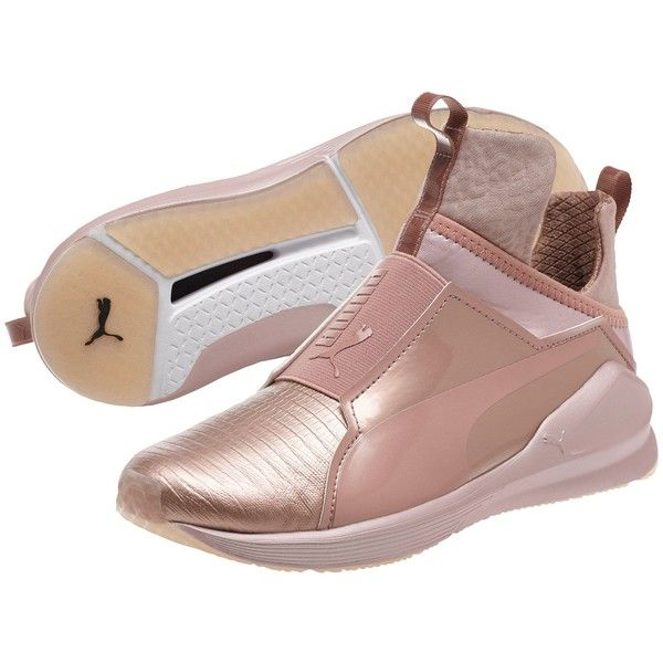 Puma Fierce Metallic Women's Training Shoes (£77) ❤ liked on Polyvore featuring shoes, athletic shoes, rose gold, grip shoes, pointed shoes, caged shoes, puma athletic shoes and breathable mesh shoes
