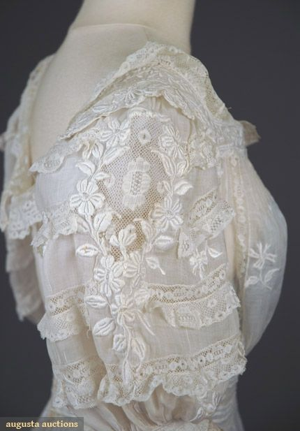 EMBROIDERED LACE TEA GOWN, c. 1905 Fine cotton batiste w/ Val lace insertions & raised floral allover embroidery, back buttons.