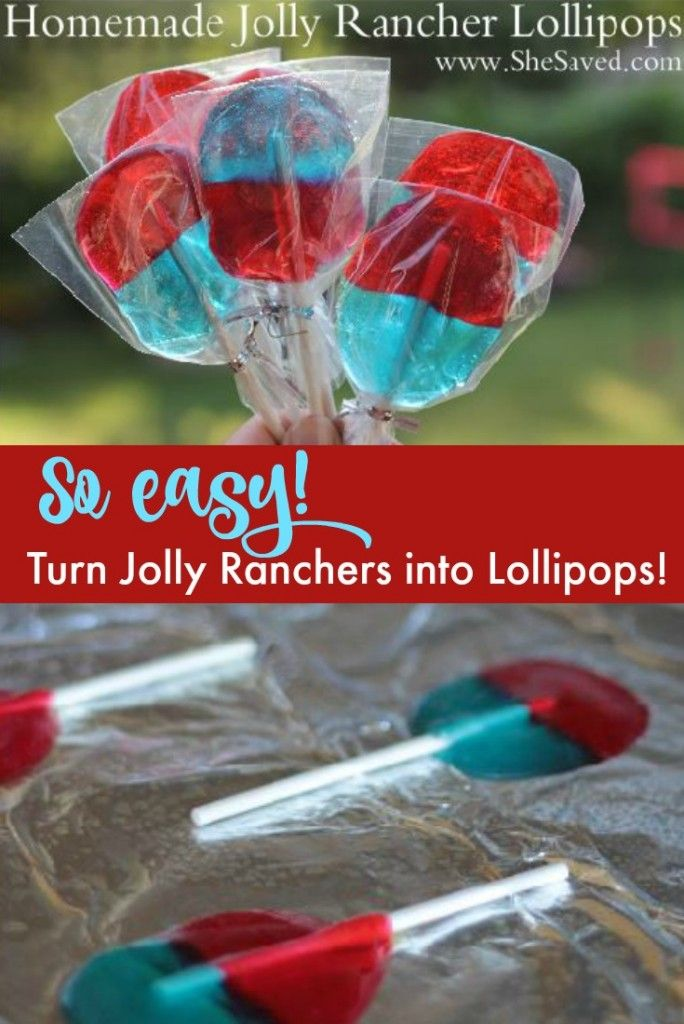 It's SO easy to make these Jolly Rancher Lollipops! All that you need are sucker sticks and jolly ranchers, such a fun treat! ~ from SheSaved.com