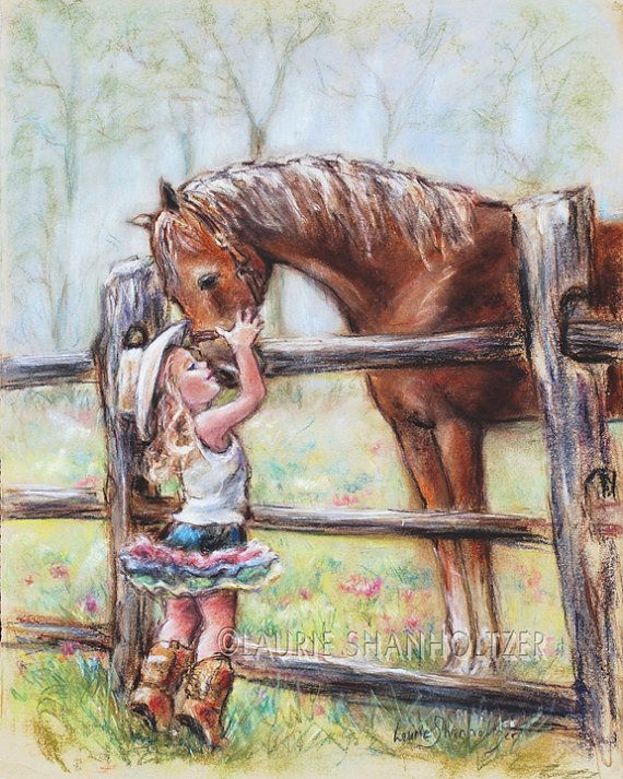 Children's Art, girl and horse Cowgirl horse painting little girl western decor paper or Canvas art Print, Laurie Shanholtzer artist