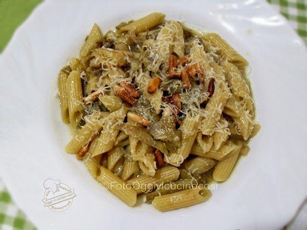 Pasta Carciofi e Topinambur con Pinoli ricetta©Oggi vi Cucino Così