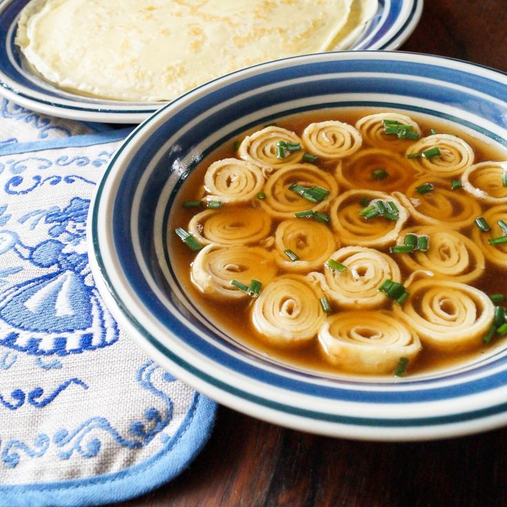 Flädlesuppe (German Crepe Soup)- made this to watch the Sound of Music. It was actually quite good. Mine was not as pretty...