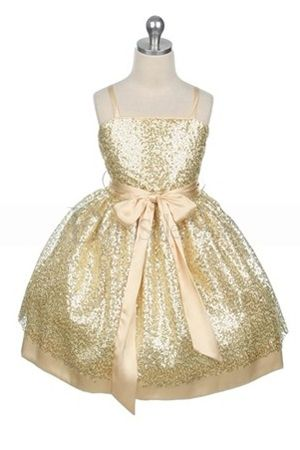 Sprinkling Sequin Lace Flower Girl Dress with Ribbon
