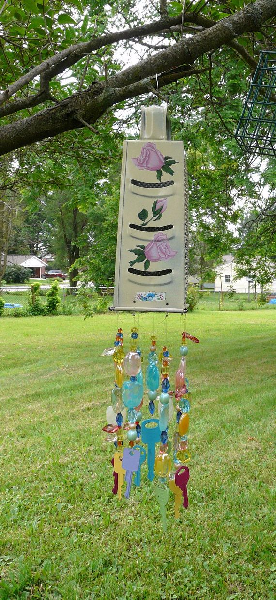 "Wind Chime or Suncatcher ~ Vintage Cheese Grater with Acrylic Beads and Painted Keys ~ 19"" Long ~ Outdoor, Porch Decor"