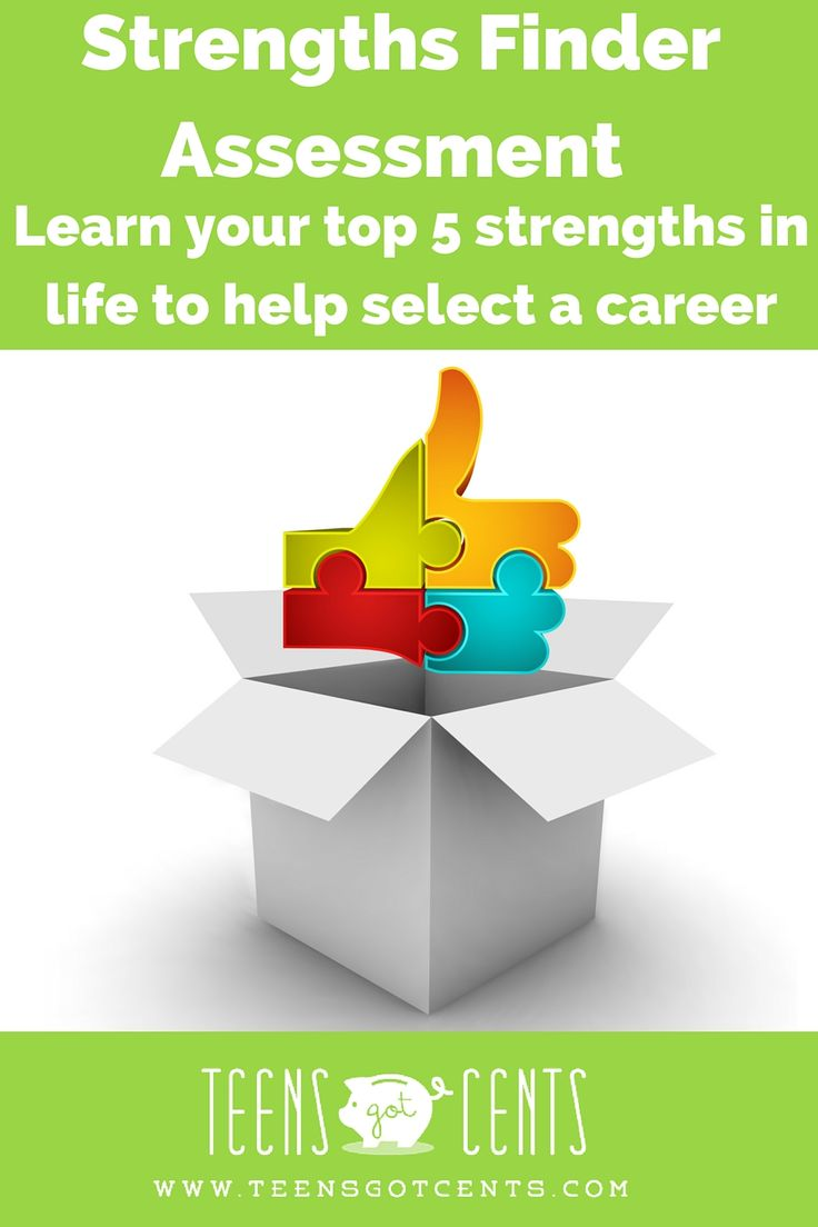 The StrengthsFinder Assessment is great for teens who are looking to learn more about who they are, where their talents lie, and what their strengths and weaknesses are. Use the test to better understand what makes you you and how to find the perfect career for your personality!