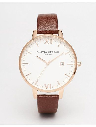 Olivia Burton Timeless Leather Strap Oversize Dial Watch - Brown