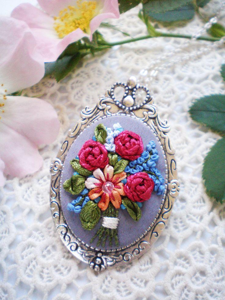 Nature inspired deep red rose orange flower bouquet feminine pendant..