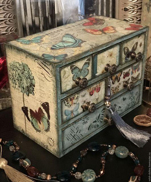 Мини-комоды ручной работы. Ярмарка Мастеров - ручная работа. Купить Голубые бабочки 2, мини-комод, декупаж. Handmade.