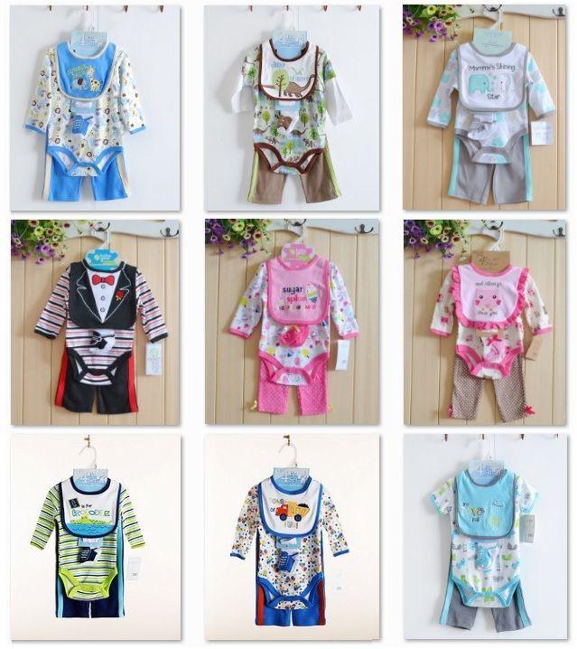 Новорожденных девочек Одежда Костюмы 4 шт. Набор Детские Трико Брюки носок нагрудники 100% Хлопок одежда для новорожденных девочка bebe комбинезон костюм