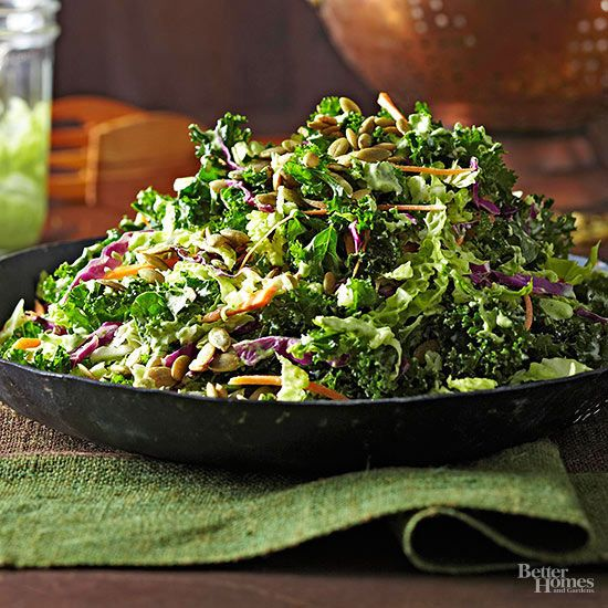 Try a modern twist on the summer potluck classic with this side-dish slaw that's brimming with wintry veggies. Kale and a mix of cabbages tossed in a creamy, herb-infused sauce make this vegetable recipe one that's sure to be devoured.  /