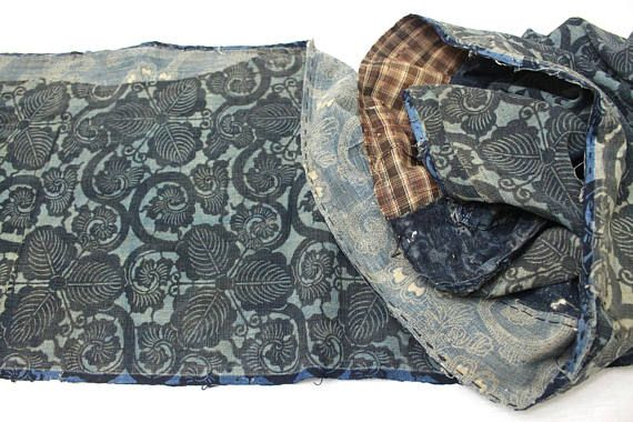 LONG Antique Boro Textile. Japanese Katazome Cotton. Indigo /