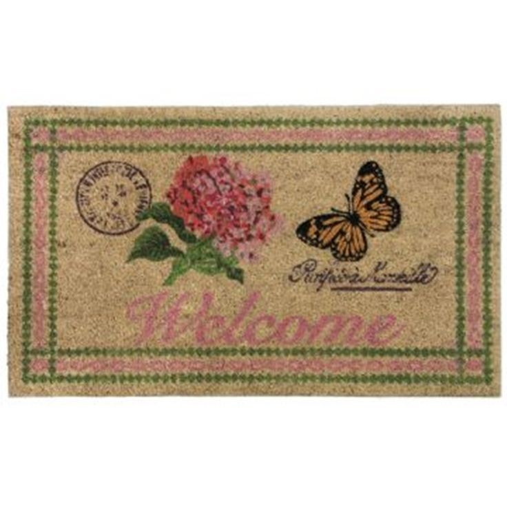 Welcome Botanical Butterfly Design Non-Slip Doormat  Perfect for a house with Butterfly dogs :-) #FieldsofBlueHome #FBHSummerDraw
