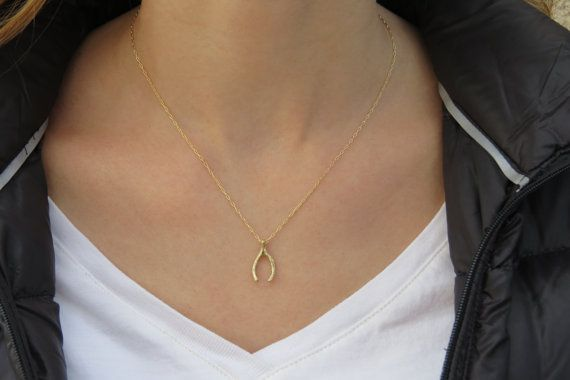 Gold necklace Wishbone necklace Lucky pendant Gold by HLcollection, $28.00