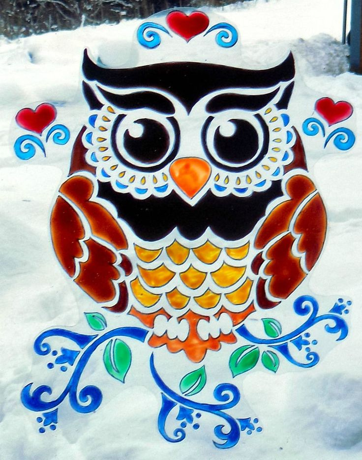 WICOART STICKER WINDOW COLOR CLING FAUX STAINED GLASS ST VALENTIN LOVE OWL