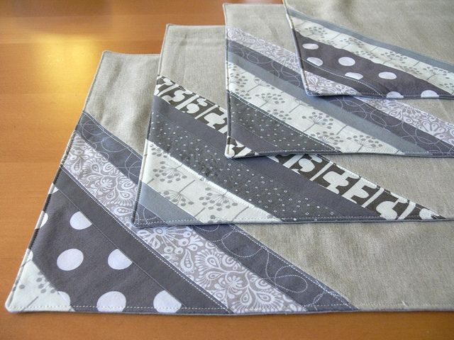 Jenny: Grey Stripe Patchwork Placemats by Stumbles & Stitches, via Flickr