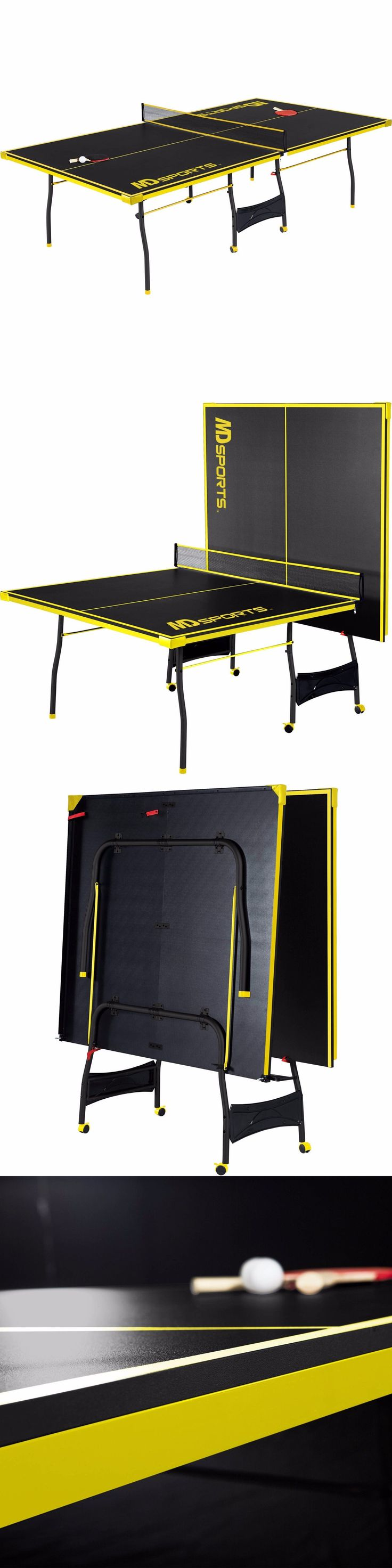 Tables 97075: Official Size Table Tennis Table Black/Yellow Folding Game Table Accessory Set BUY IT NOW ONLY: $139.78