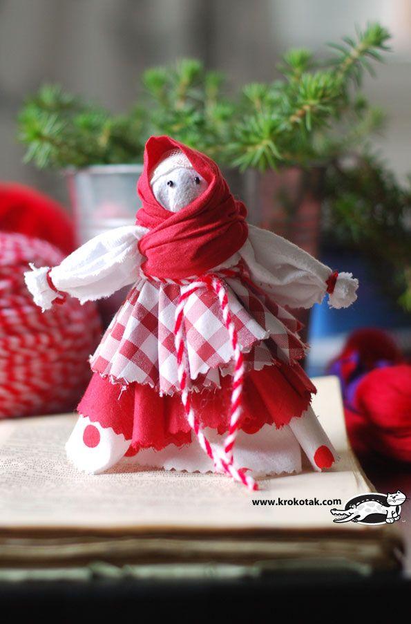 Bulgarian Rag doll Red & White DIY craft Tutorial - Baba Marta Muñeca bulgara de tela hecha a mano artesania manualidadd decoracion niños Explicaciones